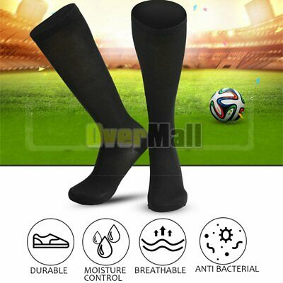 Men Soccer Knee-length Stocks High Stockings Nylon Spandex Sport Solid Long Sock
