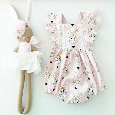 AU Summer Infant Baby Girls Easter Bunny Romper Bodysuit Jumpsuit Overall Outfit
