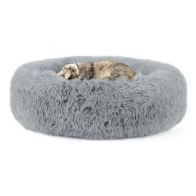 Plush Round Pet Bed for Small Dogs Cats, Faux Dog Beds Washable Cat Calming Bed