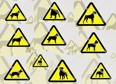 s152 3 x DOG WARNING CAUTION DOG TRIANGLES DOGS ON BOARD