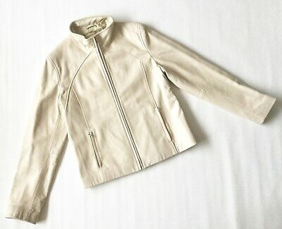 Ladies M&S CREAM LEATHER JACKET COAT high neck biker zip 12