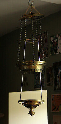 """Vintage Brass Ceiling Rise & Fall Oil Lamp Shade Candle Electric Fitting 4"""" Rim"""