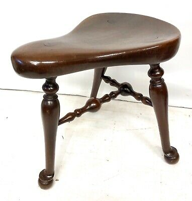 RARE Antique Oak Saddle Stool Seat