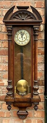 Antique Walnut Double Twin Weighted Vienna Wall Clock L02