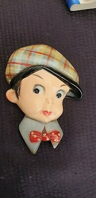 VINTAGE ART DECO BOY WITH CAP SMALL WALL PLAQUE 1930s