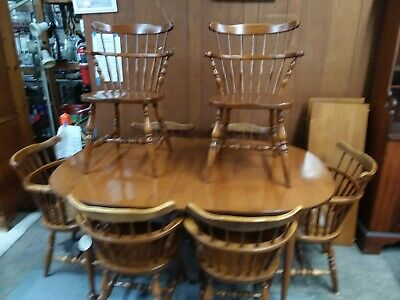 vintage Sprague Carleton 8 Rock Maple dining room kitchen chairs table & hutch