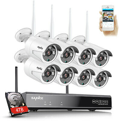 SANNCE 1080P 8CH NVR Wireless 2MP Outdoor IP Security Camera System Night Vision