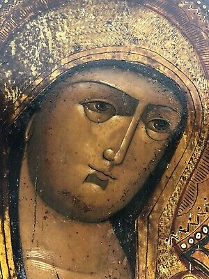 19th century Antique russian icon of the virgin mary Kholui