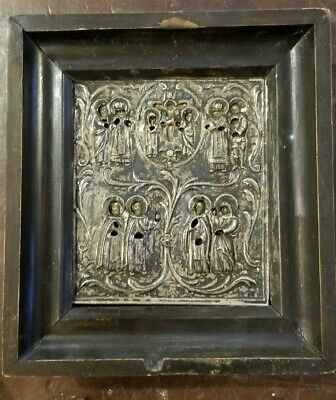 Rare Antique 1777 Imperial Russian greek Icon of sterling Silver
