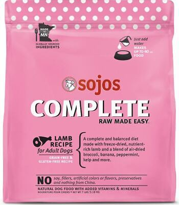 NEW 7 lb. Sojos Freeze Dried Raw Lamb Complete Dog Food!