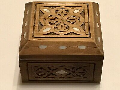 Antique Hand Carved Wooden Mather Of Pearl Inlay Small Bex