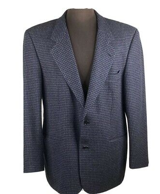 Geoffrey Beene Blue Black Houndstooth 2 Button Sport Coat Jacket Blazer 42 R
