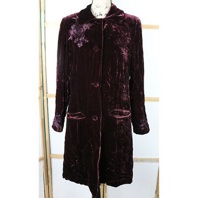 Coldwater Creek Women's Floral Embroidered Crushed Velvet Coat, Size Small