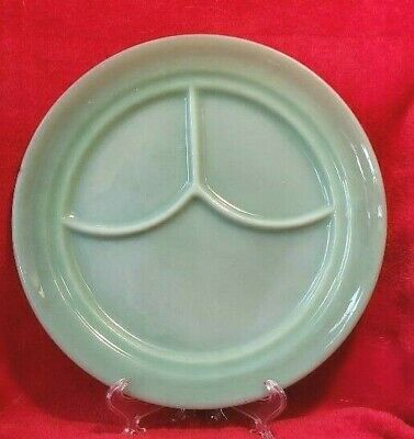 """Vintage marked FIRE KING Oven Glass Jadeite Restaurant Ware Divided Plate 9 5/8"""""""