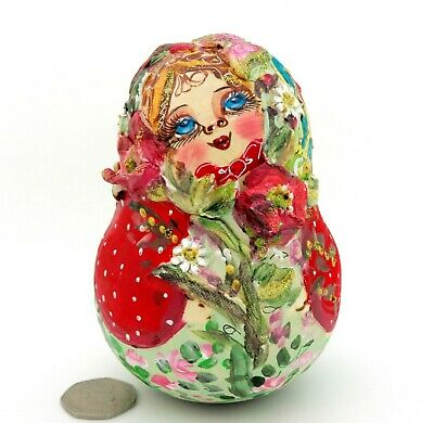 ROLY POLY Girl Clay Poppy Flowers Matryoshka Russian Wobbly doll signed MAMAYEVA