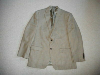 Mens Blazer-RALPH LAUREN-brown mini-check silk/wool blend lined two button-42R