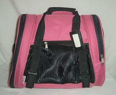 Aspca Pet Carrier Travel Bag Tote Purse Soft Sided Sm Med Dog Cat Pink Black