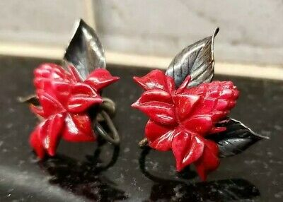 Rare MING'S OF HONOLULU Signed Red Carved Torch Ginger Sterling Silver Earrings