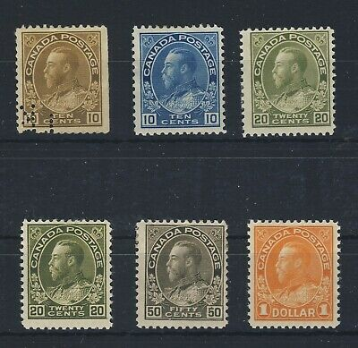 6x Canada MH Admiral Stamps 2x 10c 2x20c 50c $1.00 all MH Guide Value = $340.00