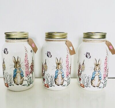 PETER RABBIT Handmade Decoupaged Jar | Baby Shower | Nursery Baby Gift