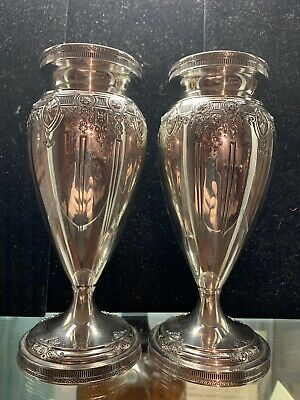 """PAIR of STERLING SILVER VASES DOMINICK & HAFF 7 1/4"""" EARLY 1900s ART ANTIQUE VTG"""