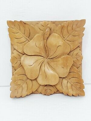 Tropical Wood Carving Hawaiian Style Hibiscus Flower Square Millwork Ornate 5.5""