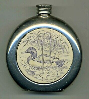 Vintage English Pewer Sheffield Duck Hunters Flask W/Beautifully Engraved Insert
