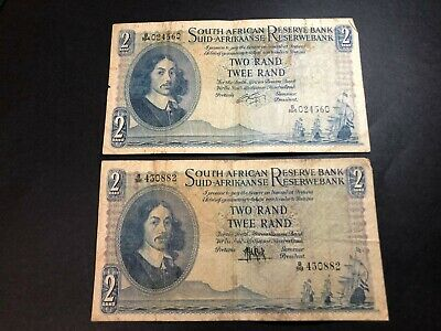 2 x South Africa 2 rand banknotes 1961-1965 circulated VF DIFFERENT SIGNATURE