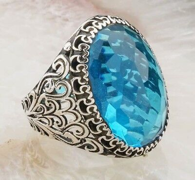 Turkish 925 Sterling Silver Aquamarine stone Mens mans ring ALL SİZE us #3949