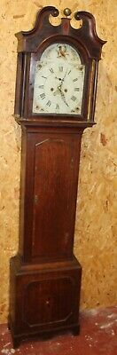 1800's 8 Day Oak Grandfather Clock with Painted Face and Bird