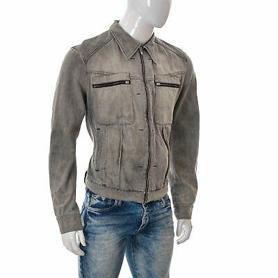 Tiger of Sweden Hamilton Mens Wash Denim Jean Jacket Size XL L.Grey Faded Detail