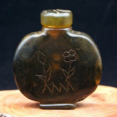 Chinese Rare Collectible Antique Natural agate Snuff Bottle Natural Stone