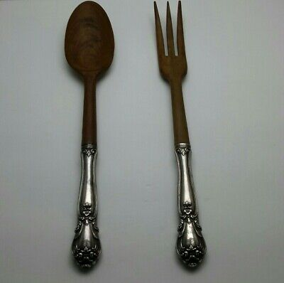 Chantilly by Gorham Sterling Silver Salad Serving Set w// Olive Wood 2pc