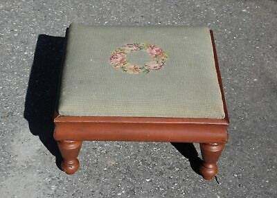 Vintage Floral Petit Point Needlepoint Solid Wood Footstool Ottoman Stool