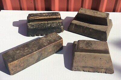 Lot of 4 Old Antique VTG Hand Carved Wooden Large Fabric Textile Printing Blocks