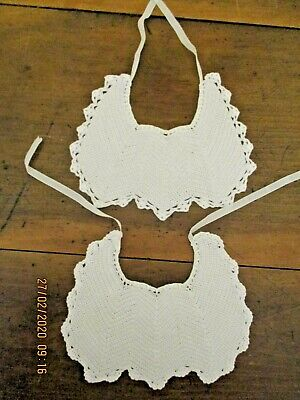 -2 x VINTAGE HAND CROCHETED BABY BIBS - WHITE - GC~
