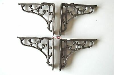 2 pairs of small Victorian scrolled cast iron brackets 4 inch wall shelf bracket