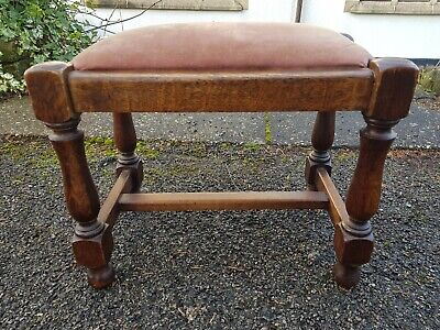 A Very Pretty Little Antique Edwardian Oak Stool with an Attractive Frame