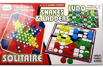 3 in 1 Solitaire - Ludo Snake & Ladder Game -Indoor or Outdoor Play & Travelling