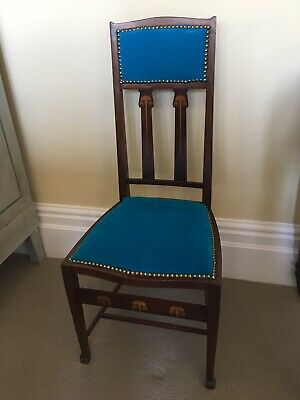 Stunning Arts and Crafts mahogany dragonfly inlaid chair c 1900 Liberty quality