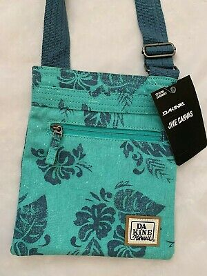 "Blue Green Floral 8X9"" DAKINE Hawaii Purse 3 Pockets 48"" Adjustable Handle - NWT"