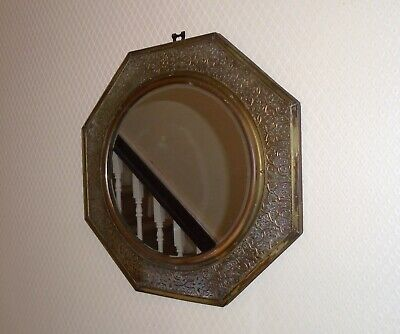 Lovely Vintage Round Bevelled Wall Mirror with Decorative Brass Octagonal Frame
