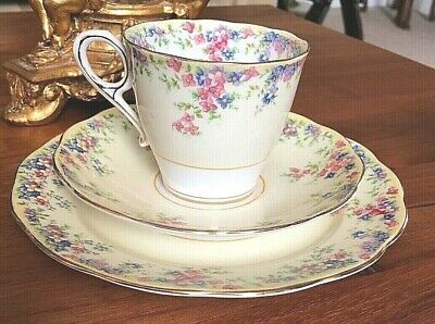 Vintage Royal Albert Bone China TRIO Tea Cup Saucer Plate 'Maytime' Flora Gold