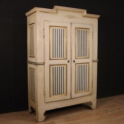 Wardrobe furniture antique armoire gold lacquered wood Louis XVI style 800