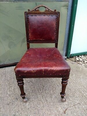 Small Period Ox Blood Leather Occasional Hallway Chair With Attractive Carvings