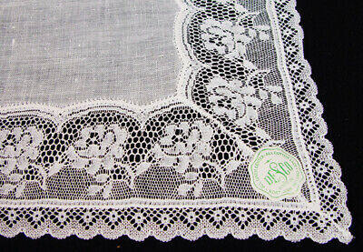 VTG Off White Linen Lace Wedding Bridal  DESCO  Hankie PRISTINE  NWT