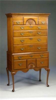 19838 Period Queen Anne Chest on Chest Highboy with Fan Carvings
