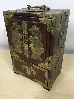 1920's Chinese Export Jewelry Box Rosewood with Engraves Brass Accents