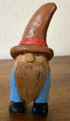 VINTAGE~HAND CARVED~FOLK ART~WOOD~ OLD WORLD GNOME signed! Estate