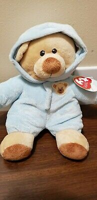 "Ty PJ Bear Pluffies 8/"" Green Removable Pajamas Stuffed Animal Plush 2004 RARE"